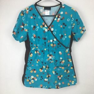 Cherokee Flexibles S Teal Spotted Brown Scrub Top